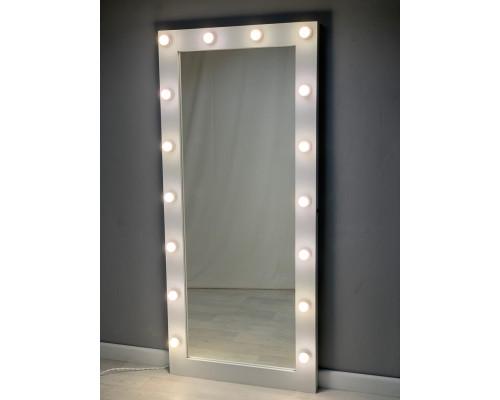 Белое гардеробное зеркало с подсветкой 180 на 80 см ЛДСП Премиум