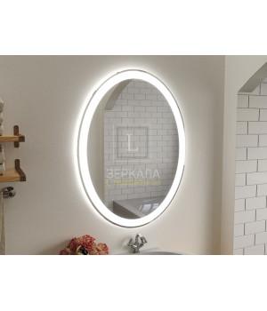 Зеркало в ванную комнату с подсветкой светодиодной лентой Ронда